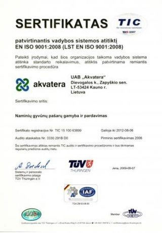 EN ISO 9001 2008 sertifikatas